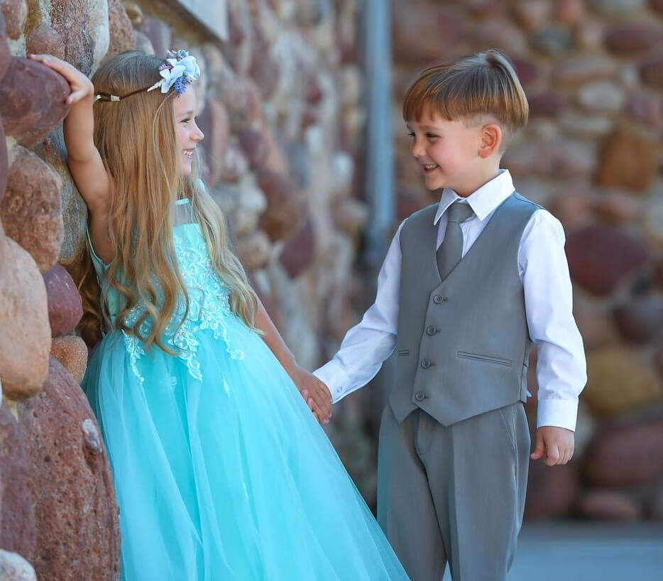 Girl and Boy wearing special occasion clothing